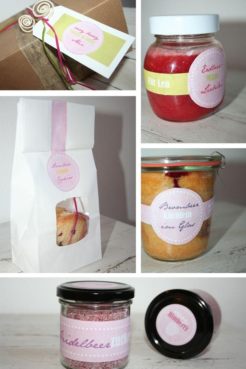 Erdbeer-Minz-Marmelade, Himbeer-Lemon-Cookies, Brombeerküchlein im Glas, Heidelbeerzucker und Himbeersalz