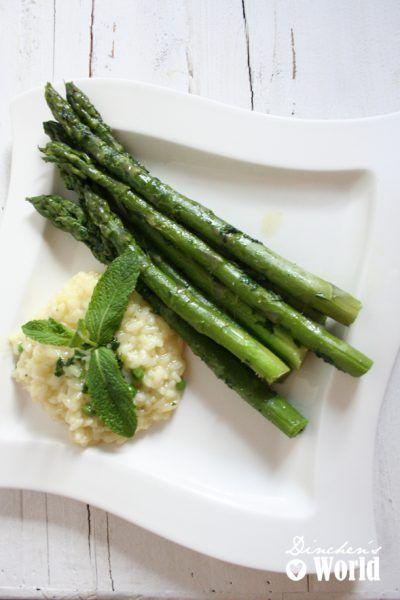 Minz-Risotto mit grünem Spargel