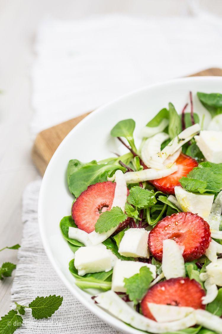 Rezept für Salat mit Erdbeeren, Fenchel und Mozzarella