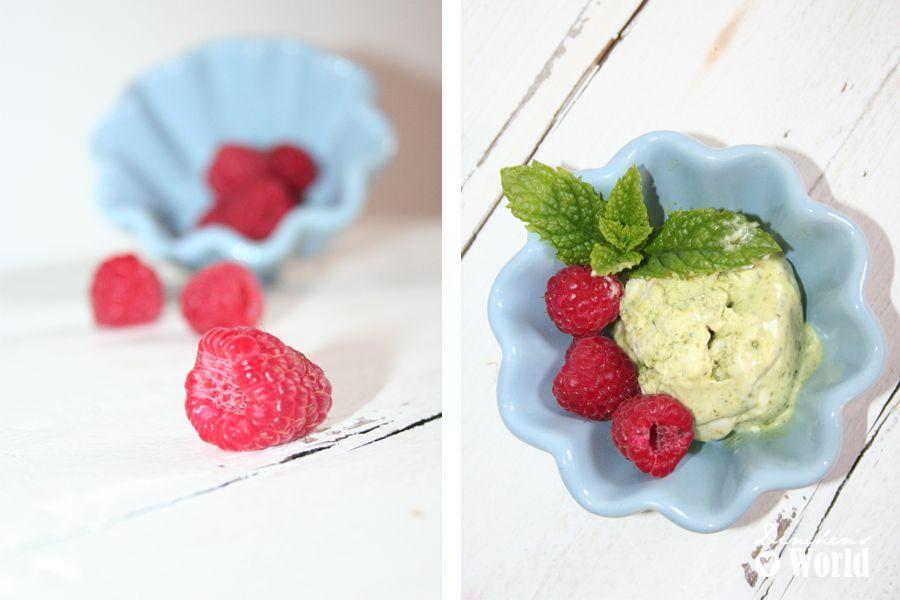selbstgemachte Eiscreme mit Pistazien und Minze
