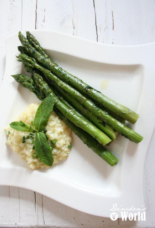 Risotto mit Minze und grünem Spargel