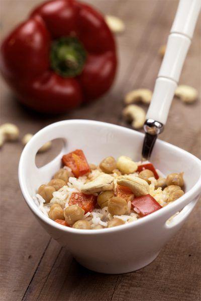 Kichererbsen-Paprika-Reis mit Kokosmilch