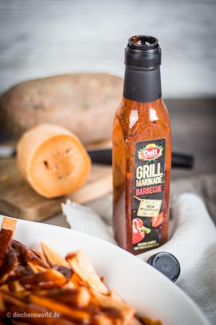 Grill-Rezept für Curry-Hühnchen-Spieße mit mariniertem Kräuter-Spargel und Süßkartoffel-Pommes by dinchensworld.de